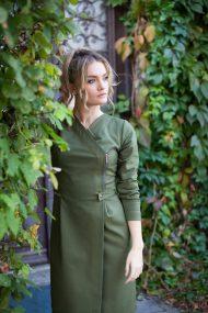 Sujuosiama samaninė suknelė užsegama užtrauktuku chaki dress khaki dres