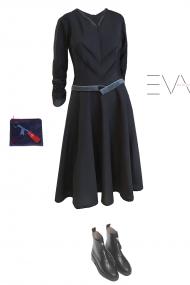 juoda suknele stilinga v formos iskirpte
