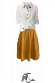 balti lininiai marskiniai geltonas sijonas