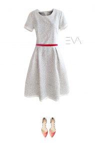 suknele balta medvilnine puosni