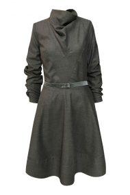 grey wool drape collar dress
