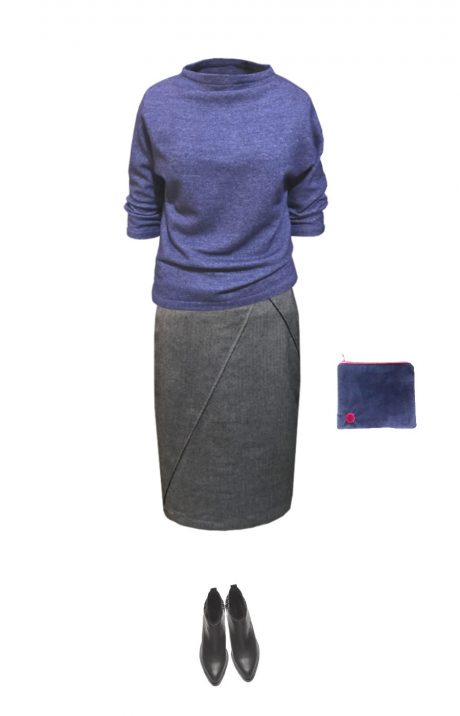 grey wool pencil skirt outfit