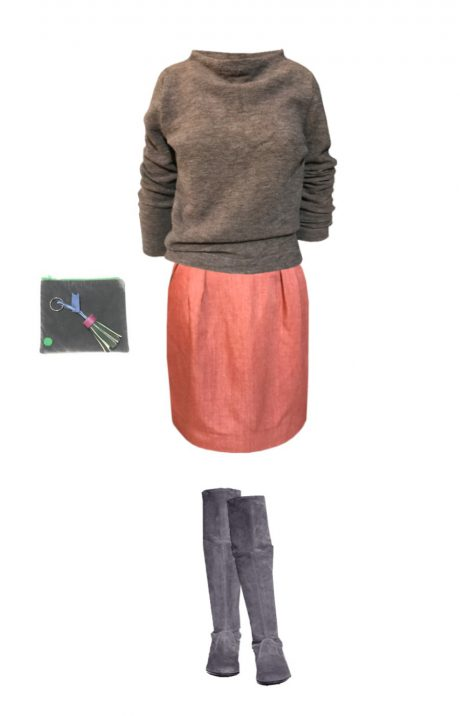 skirt coral outfit winter