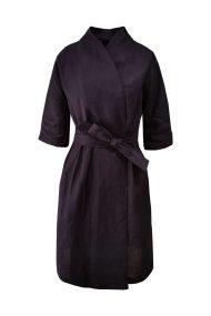 baklazano spalvos linine kimono suknele svarkelis