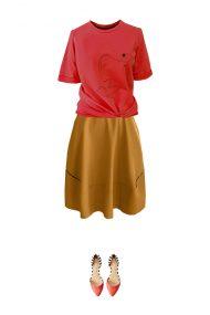 geltonas sijonas marskineliai outfit